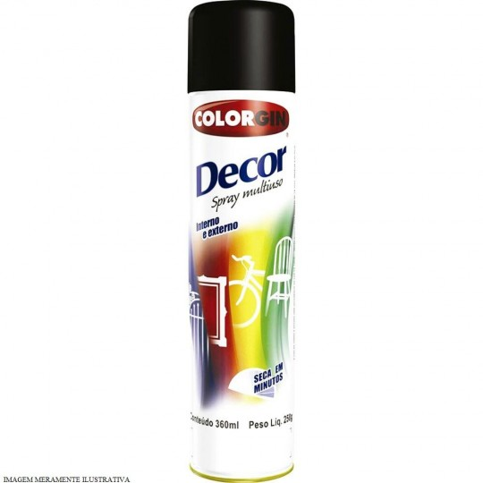 Spray Multiuso Decor Preto Brilhante 360ml Colorgin