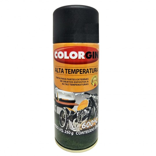 Spray Alta Temperatura 350ml Preto Fosco Colorgin