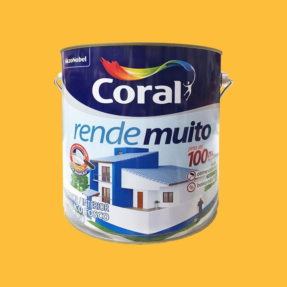 Tinta Acrilica Rende Muito Exterior Interior Standard Fosca Amarelo Frevo 3 6 Litros Coral Wermar Materiais De Construcao